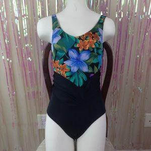 VTG 80s one piece swim suit floral black high cut